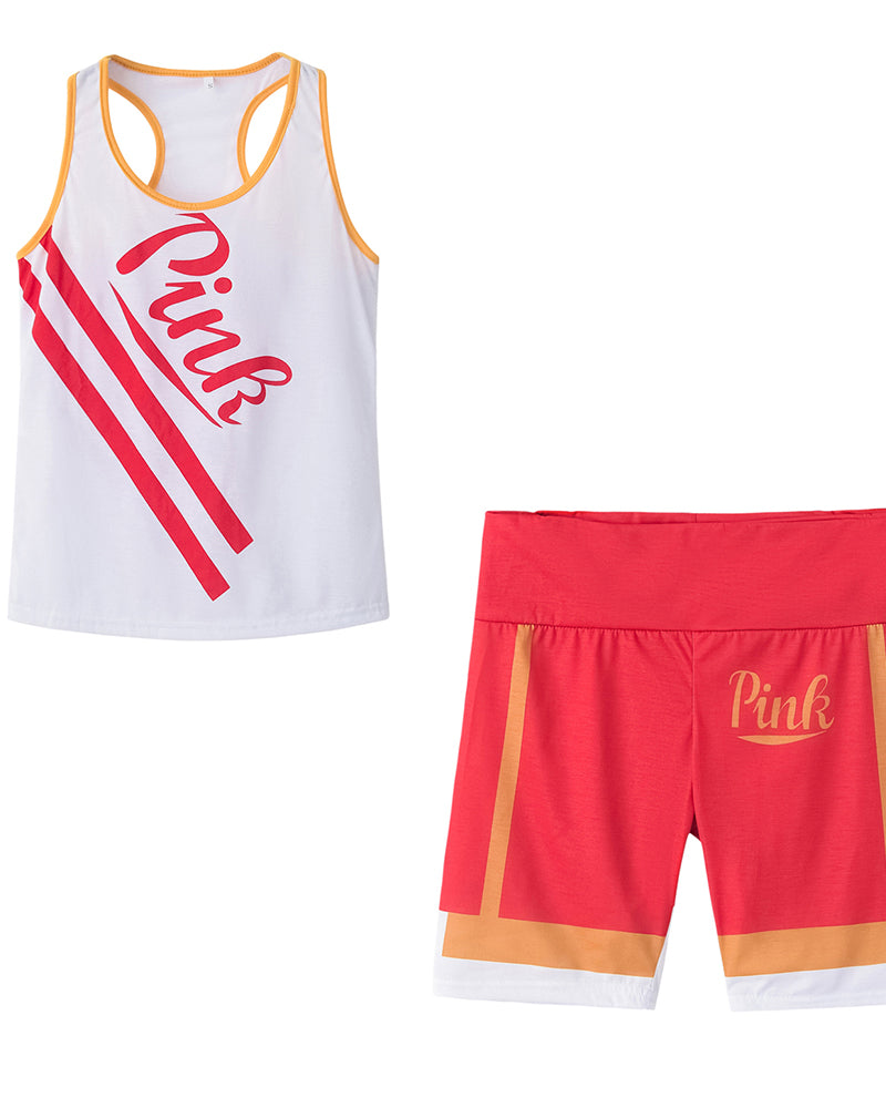 Letter Printing Sleeveless Tank With Shorts Suit Sets