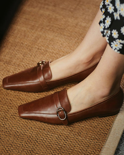 Square-toe Solid Color PU Leather Splicing Buckle Loafers