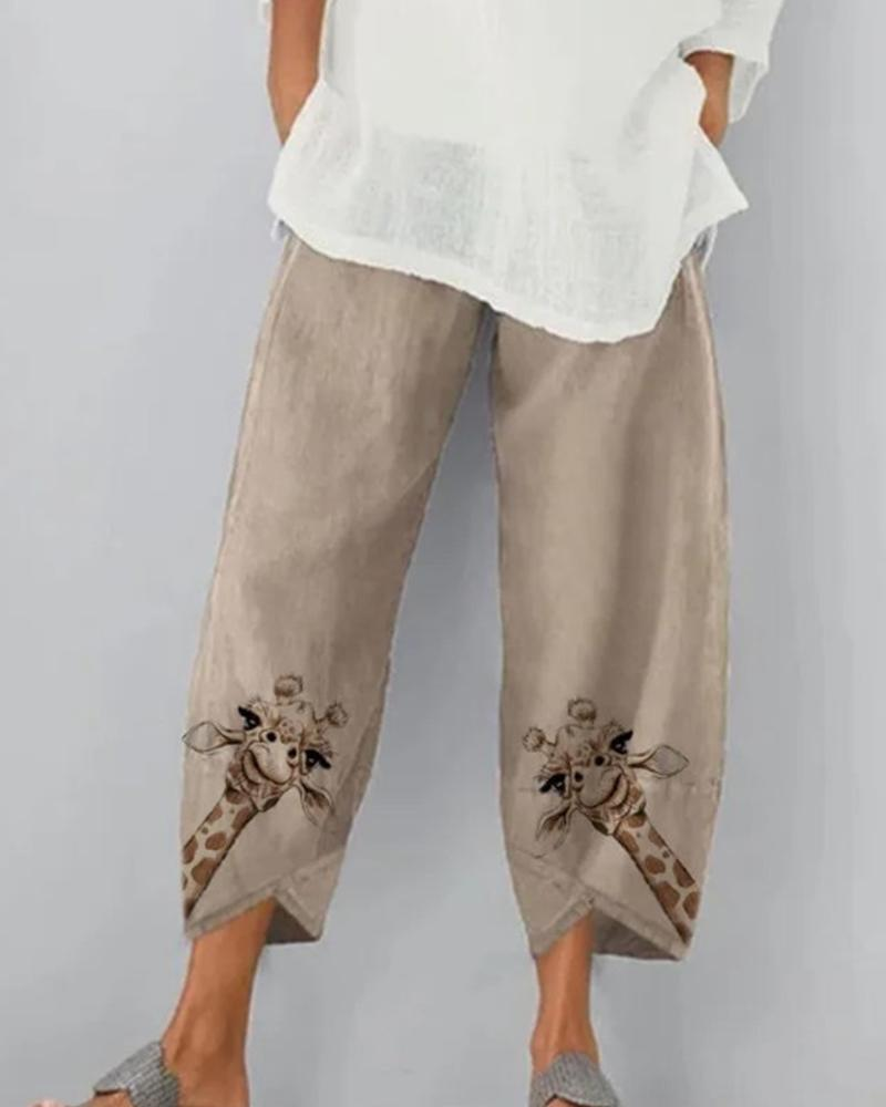 Brief Print Loose Wide-leg Pants