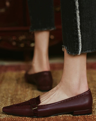 Pointed-toe Splicing Suede PU Leather Loafers