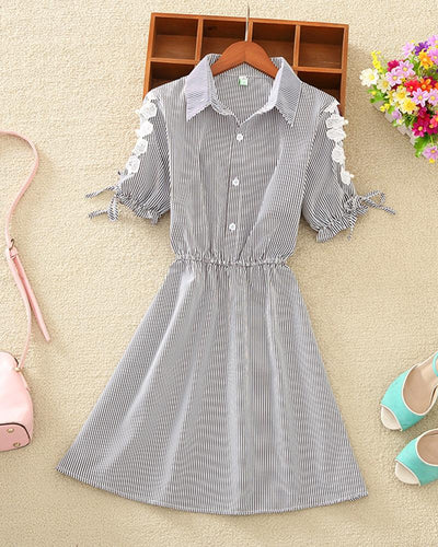 Striped Lace Trim Shirt Dress