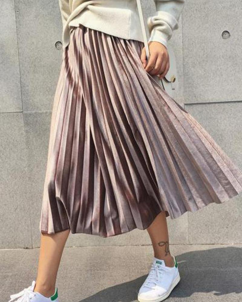 Pleated Detail Midi Skirt