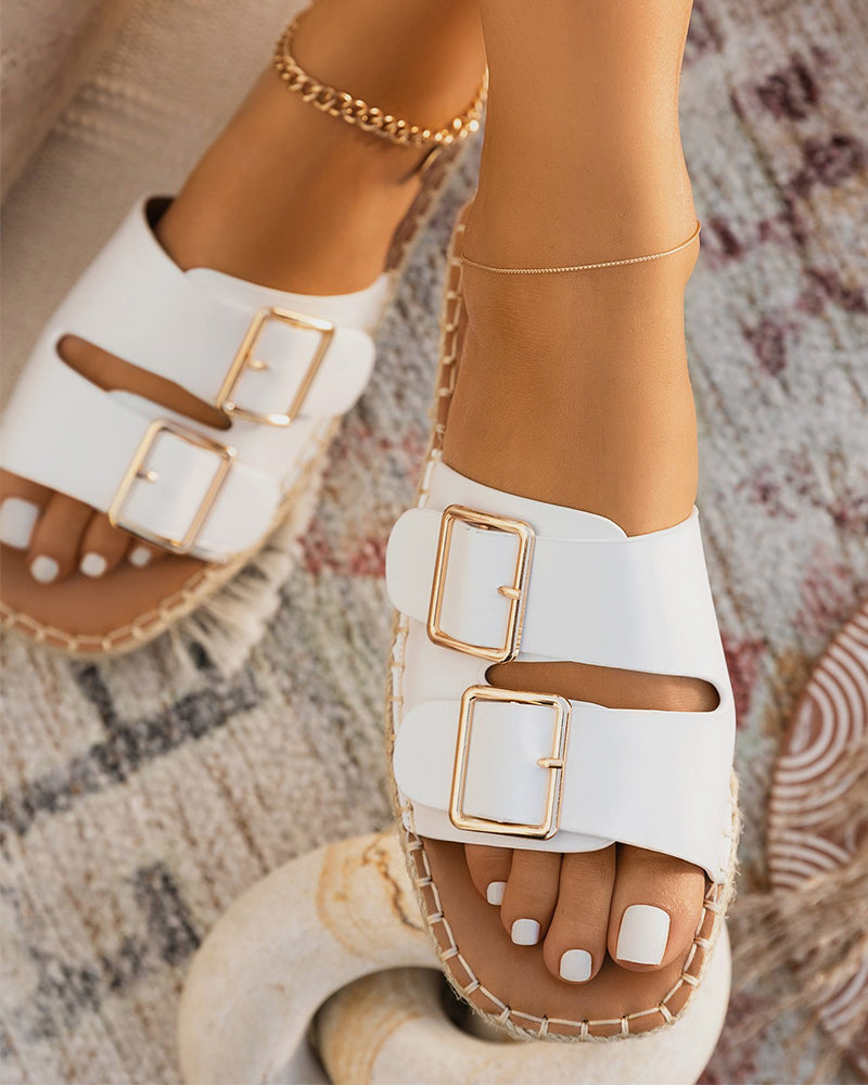 Square-toe Solid Color Double Buckles Flat Slippers