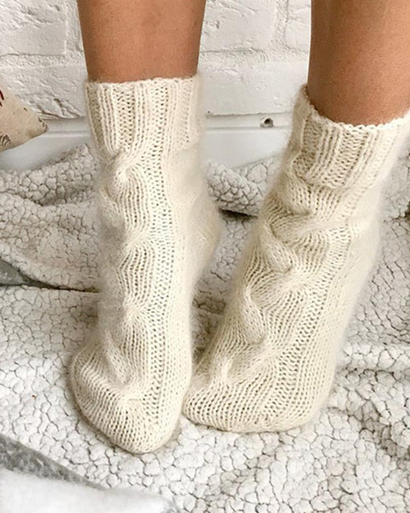 Casual Solid Color Plush Socks