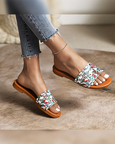 Round-toe Multicolor Floral Print Strap Flat Slippers