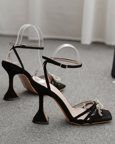 Rhinestone Bow Square-toe Hollow High Heels