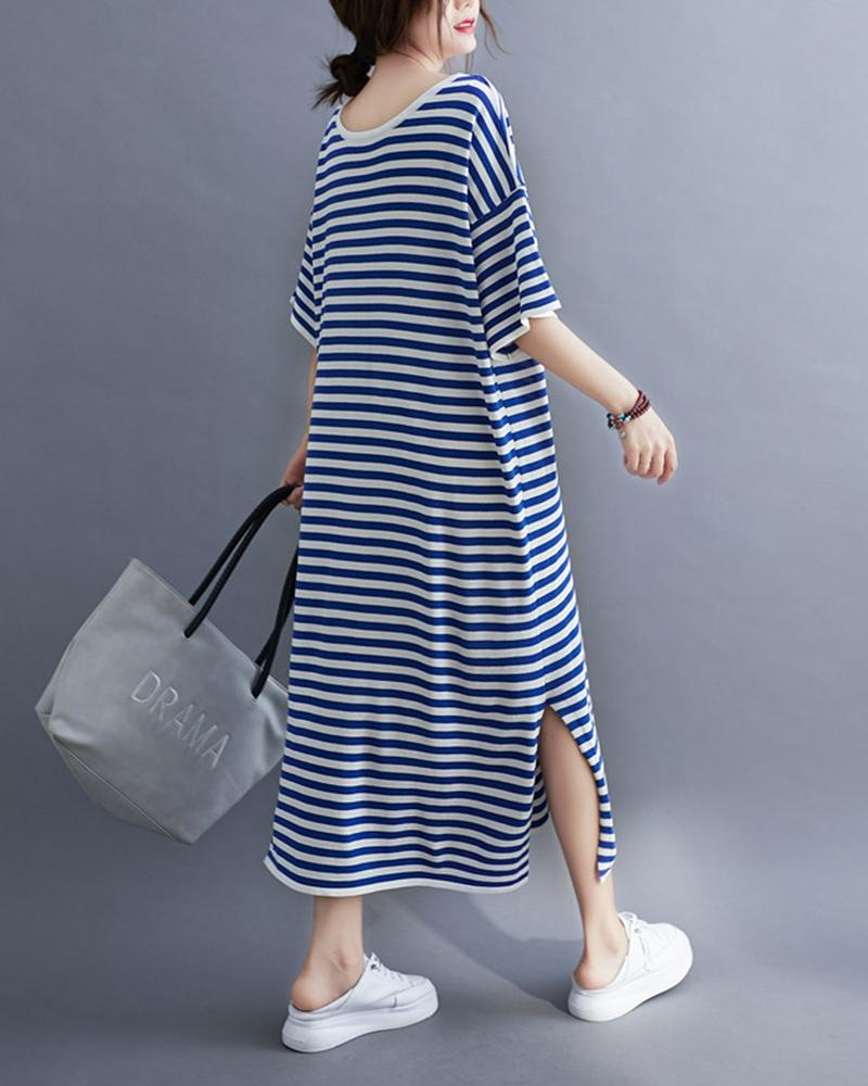 Striped Split Herm Loose Dresses