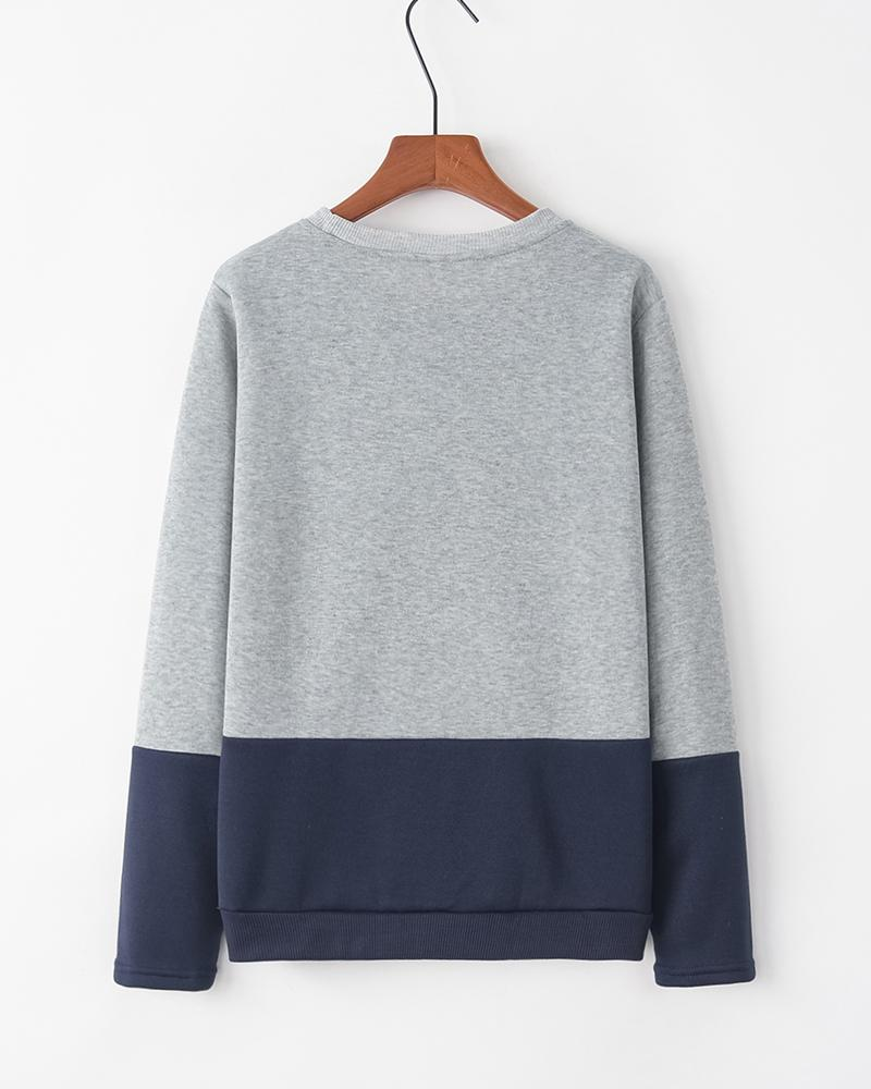 Colorblock Long Sleeve Loose Sweatshirts