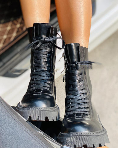 Solid Lace-up Zipper Martins Boots