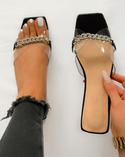 Square-toe Splicing Chain Open-toe Flat Slippers