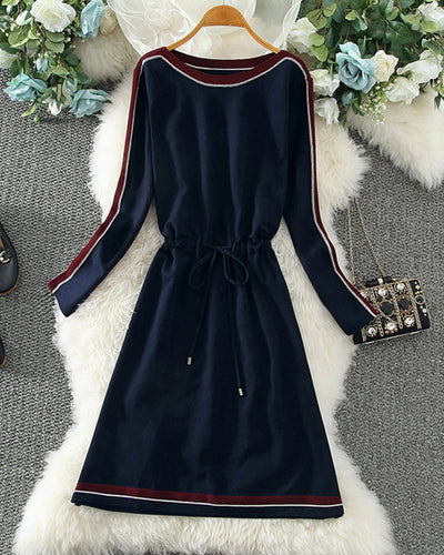 Color Block Long Sleeve Skinny Waist Dress