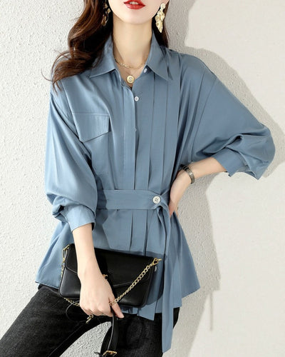 Solid Long Sleeve Loose Lace-up Waist Blouse With Belt