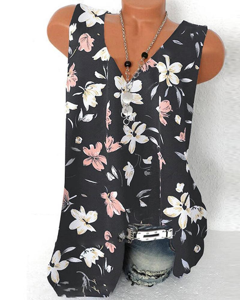 Floral Print Sleeveless Loose T-shirt Tank