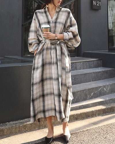 Loose Printing Long Sleeve Dress