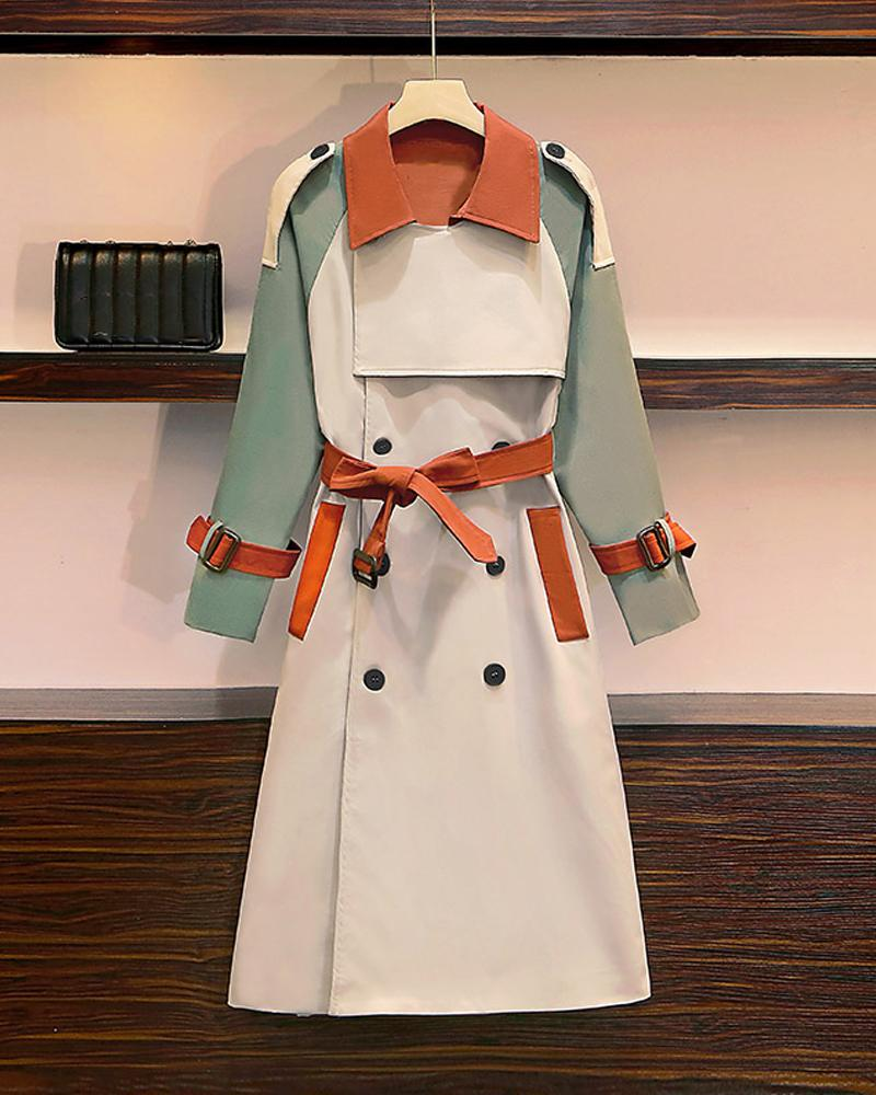 Color Block Long Sleeve Windbreaker Coat