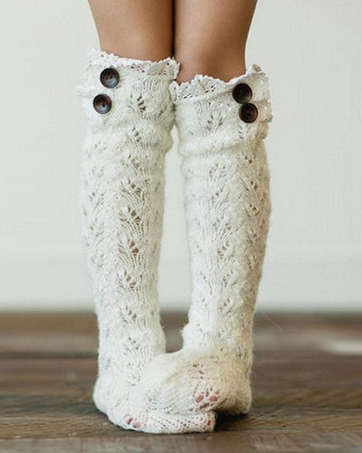 Solid Lace Patchwork Cut-out Midi-calf Socks
