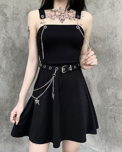 Punk Style Solid Color Splicing Butterfly Metallic Chain Sling Mini Dress