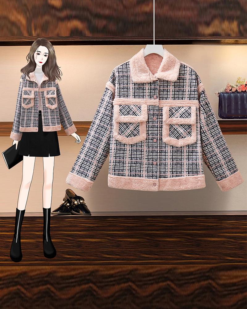 Plaid Long Sleeve Tweed Coats