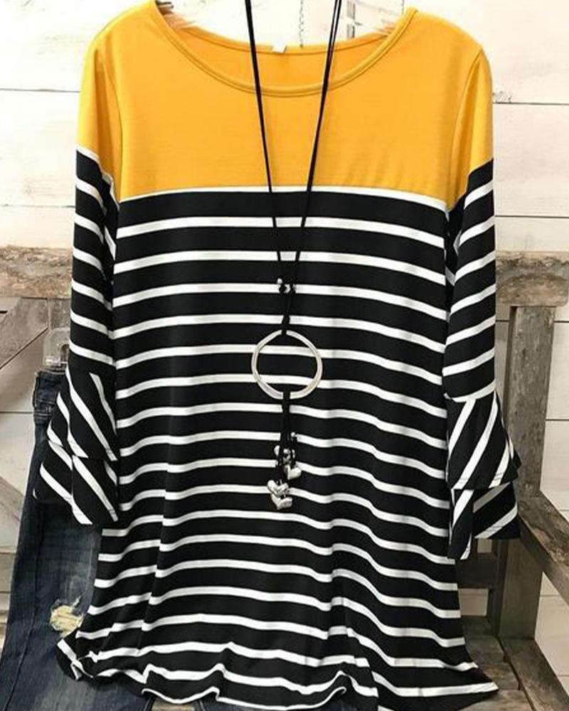 Colorblock Striped Long Sleeve  T-shirts