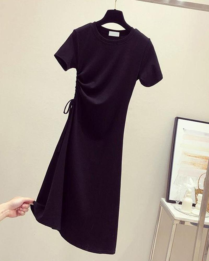 Side Drawstring T-Shirt Dress