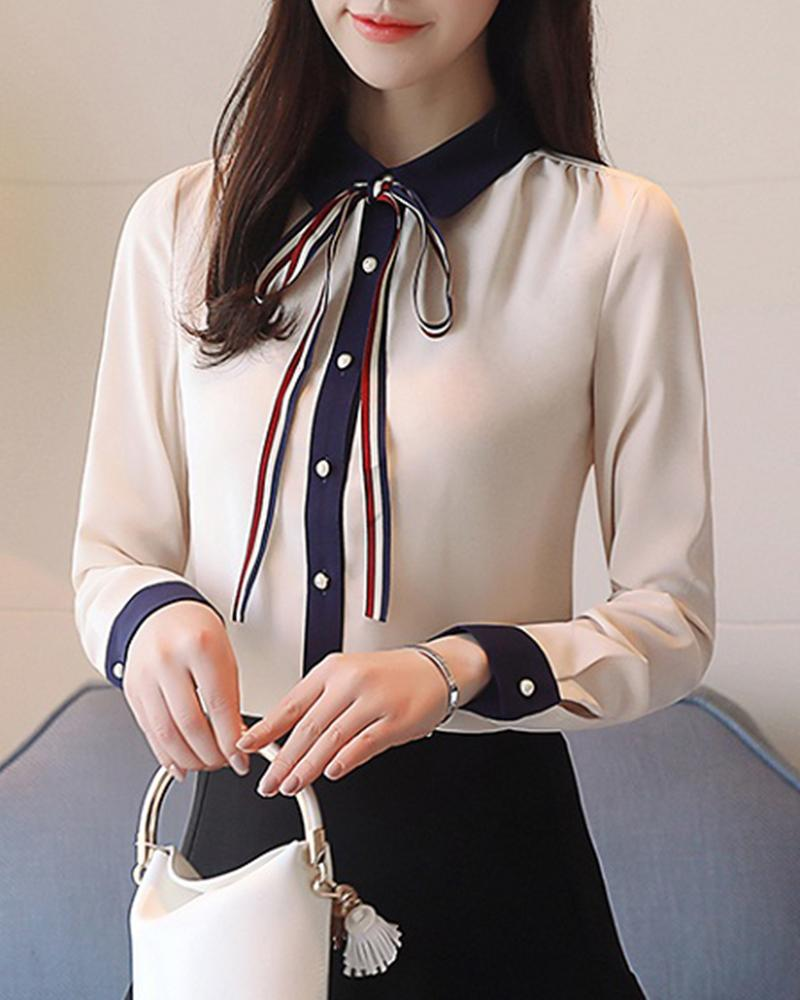 Contrast Color Placket Chiffon Top