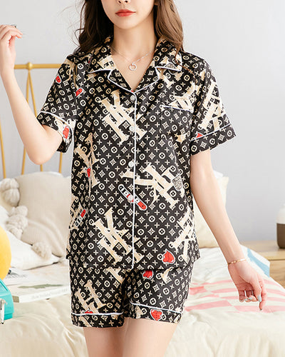 Letter Print Short Sleeve Loose Button-up Blouse With Shorts Suit Sets