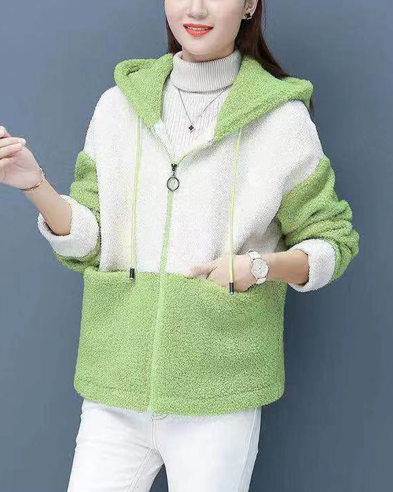 Colorblock Long Sleeve Hoodies Coats