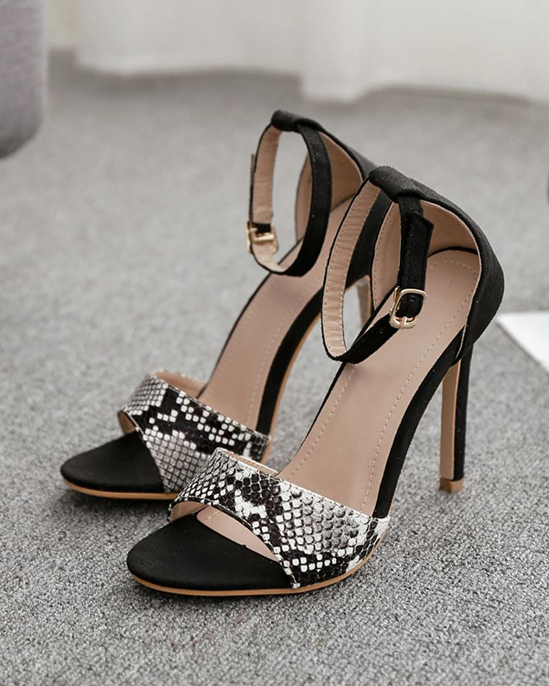 Peep Toe Snakeskin Patchwork Sandals