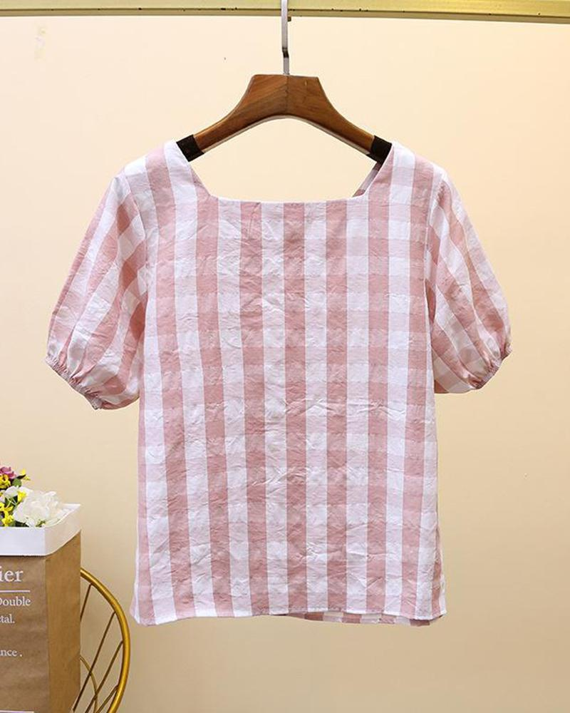 Plaid Button Front T-Shirt