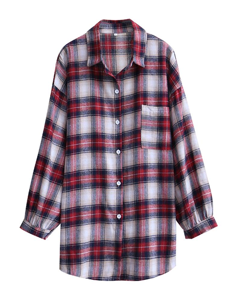 Plaid Long Sleeve Loose Blouse