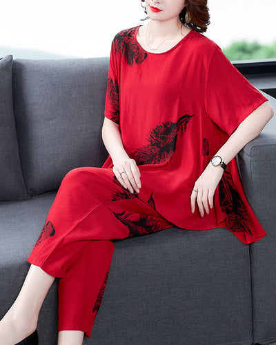 Feather Print Short Sleeve T-shirt And Harem Pants Suit Sets