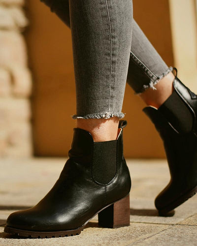 Solid Color Round-toe High Heels Chelsea Boots