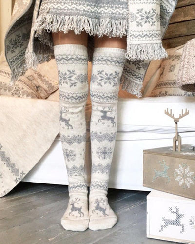 Reindeer Patterns Printig Skinny Over-knee Socks