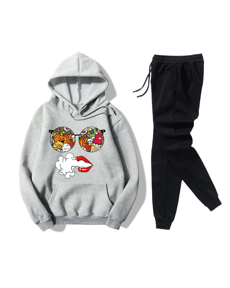 Print Long Sleeve Loose Sweatshirts Suit Sets