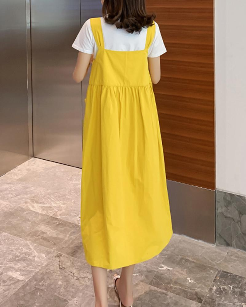 Solid Pocket Loose A Line dress