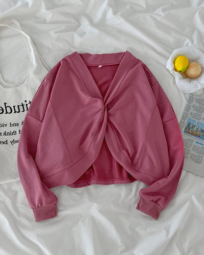 Solid Color Long Sleeve Cropped Blouse