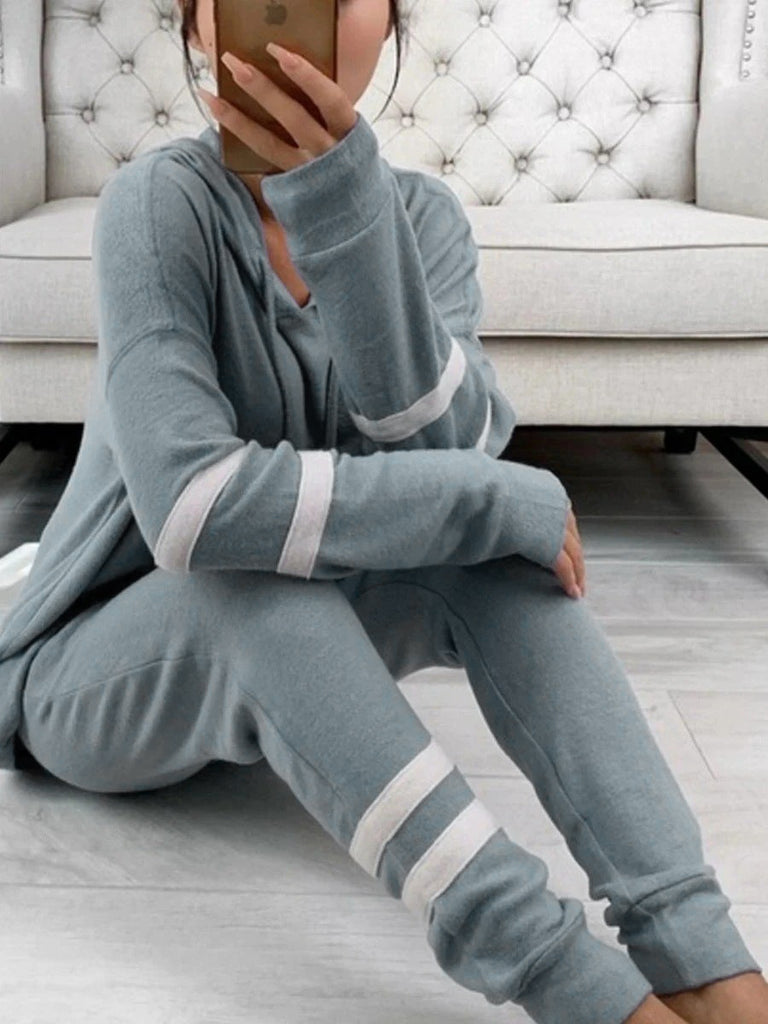 Striped Long Sleeve Hoodies Suit Sets