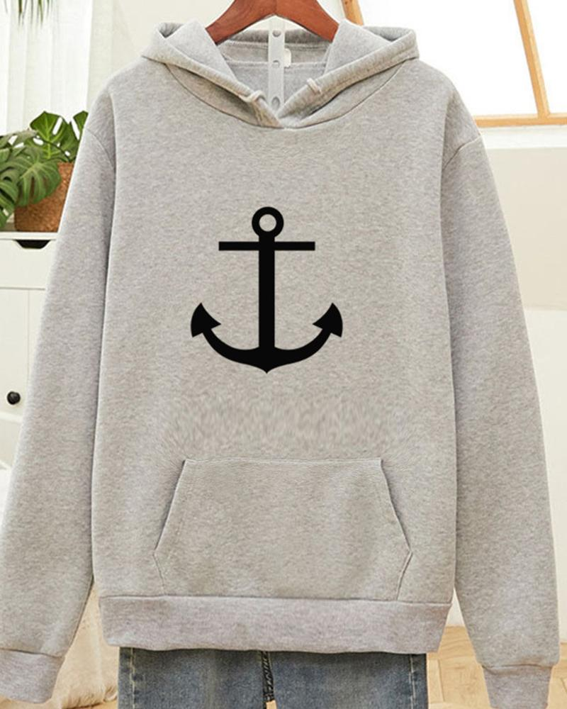Printing Long Sleeve Hooded Loose Sweatshirt
