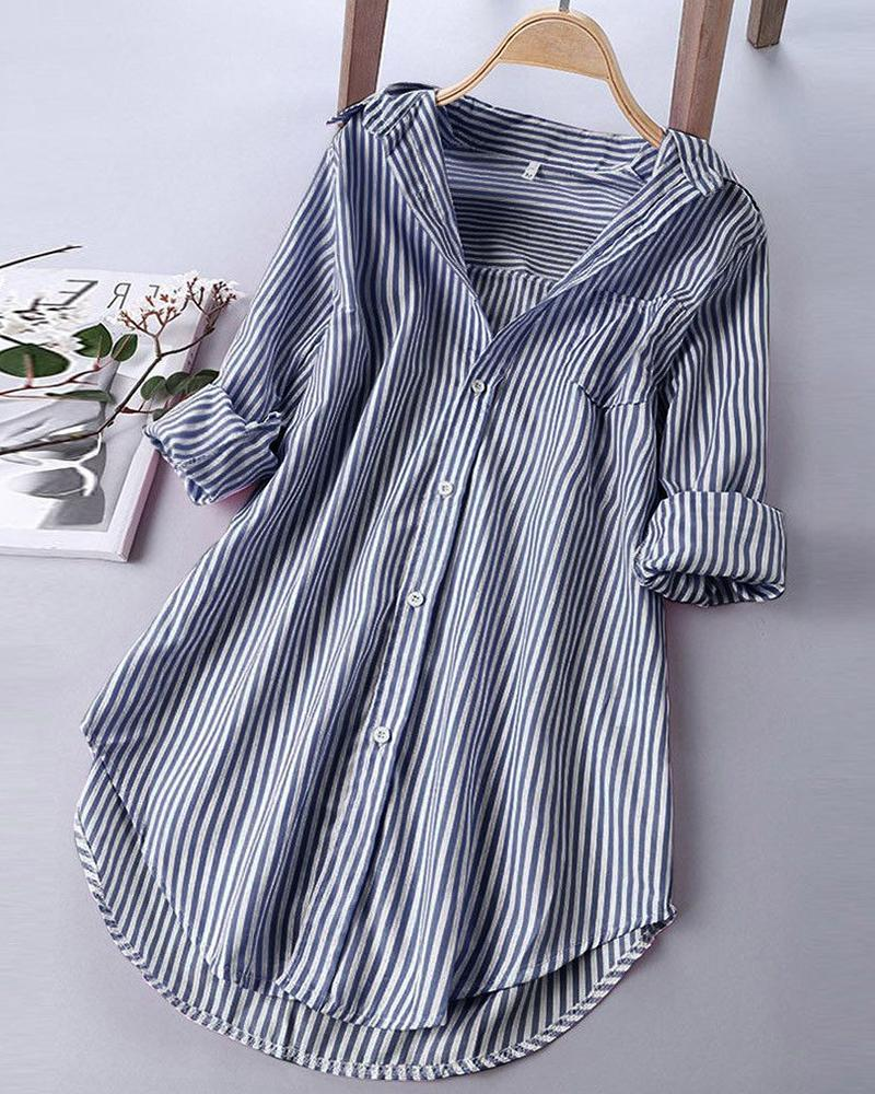 Brief Striped Blouse Top