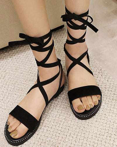 Solid Open-toe Strappy Flat Sandals