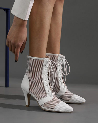 Lace-up Pointed-toe Fishnet High Heel Boots