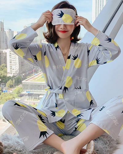 Pineapple Print Long Sleeve Lace-up Pajamas Sets