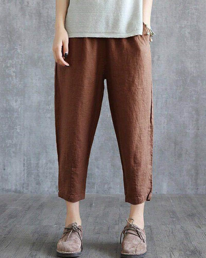 Brief Solid Cropped Harem Pants