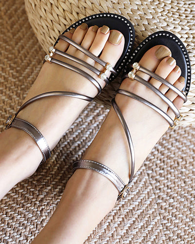 Solid Bandages Open-toe Flat Sandals