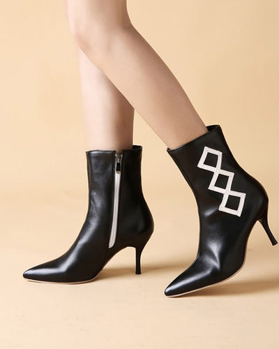 Pointed-toe Solid Color Splicing High Heel Boots