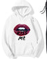 Rough Lips Print Long Sleeve Loose Hooides Sweatshirts Suit Sets