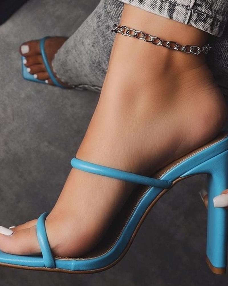 Solid Open Toe Double Strap Heeled Sandals