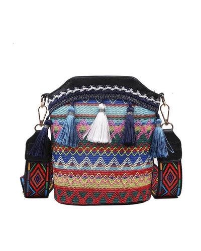 Colorblock Retro Patterns Tassle Bucket Bags