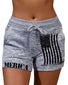 Solid Color Splicing Flag&Letter Print Drawstring Short Pants