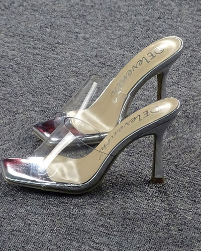 Solid Color Square-toe Hollow High Heels